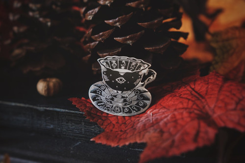 Black and Silver Tasseomancy Enamel Pin from Lively Ghosts