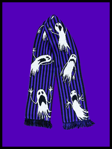 Halloween Ghosts Purple and Black Scarf from October 31st
