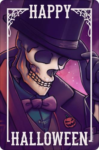 Happy Halloween Skeleton Mini Tin Sign