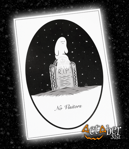 No Visitors Sad Ghost A5 Print from October 31st