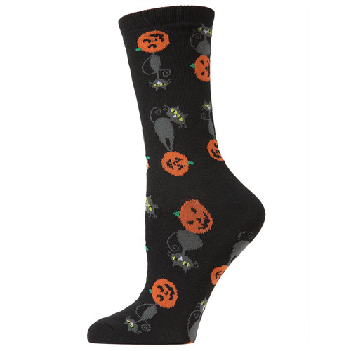 Pumpkin and Cat Black Socks