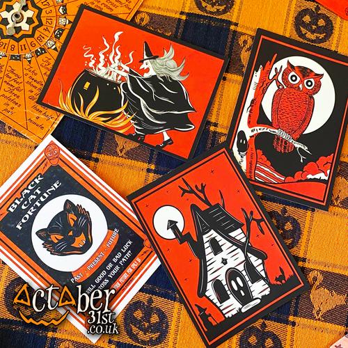 Set of 4 Vintage Halloween Inspired Postcards