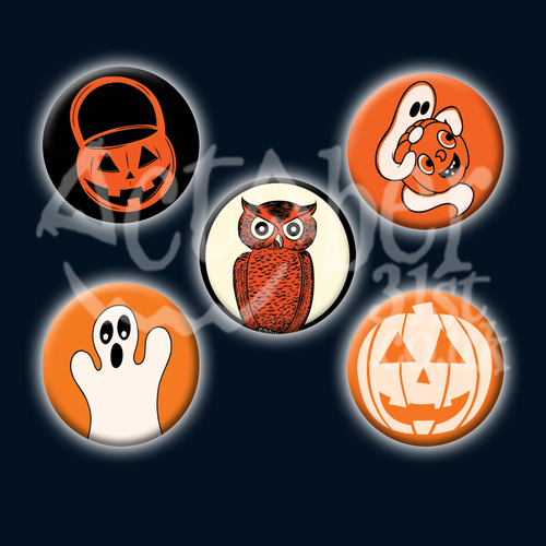 Vintage Style Halloween Badge 5 Designs to Choose From