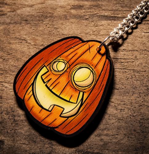 Jack-O Lantern Wooden Necklace from Creepies Style 1