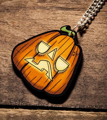 Jack-O Lantern Wooden Necklace from Creepies Style 2