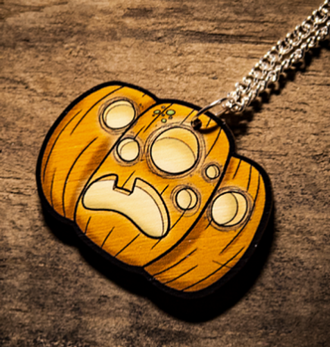 Jack-O Lantern Wooden Necklace from Creepies Style 3