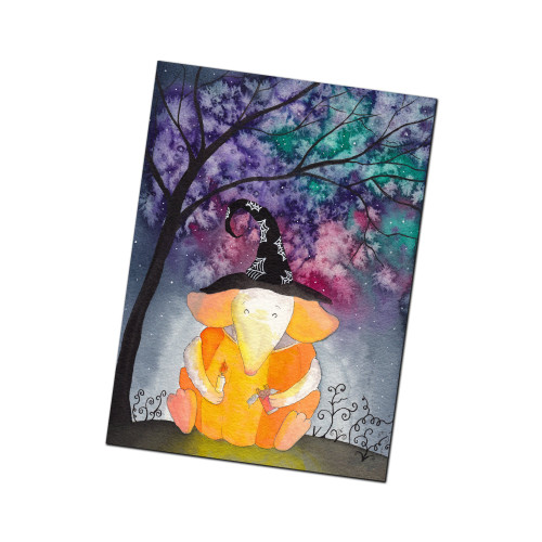 Pumpkin Mouse and Magical Galaxy Sky Halloween Greeting Card from Kris Miners