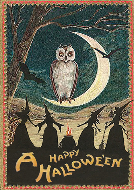 Owl and Witches Halloween Card