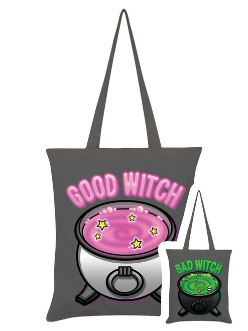 Good Bad Witch Double Sided Grey Tote Bag
