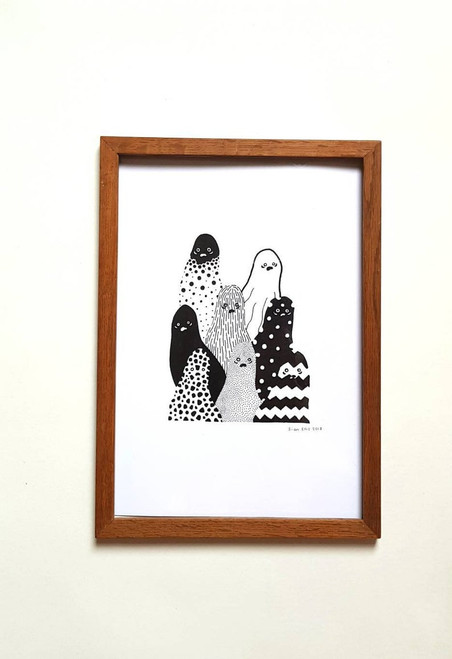 Quirky Black and White Ghosts A4 Print from Sian Ellis