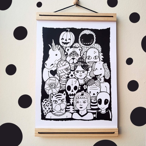 Black and White Friends A4 Print from Sian Ellis