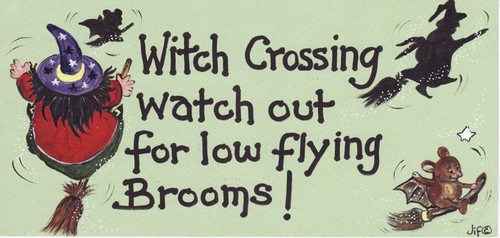 Witch Crossing Hanging Sign