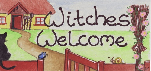 Witches Welcome Hanging Sign