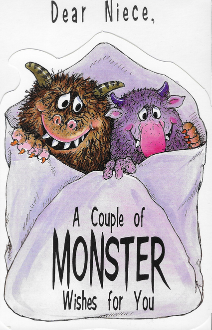 Niece Monster Wishes Halloween Greeting Card