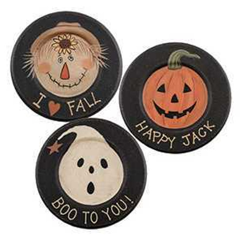 Primitive Halloween Boo, Jack, Fall Plates