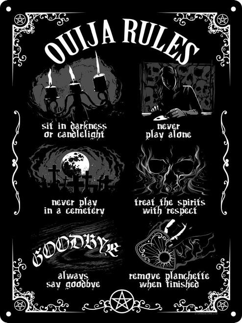 Ouija Board Rules  Large Tin Sign