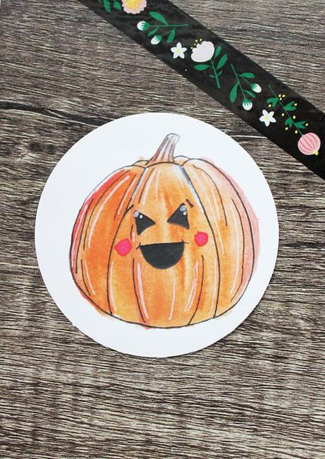 Pumpkin Sticker by Megan Elizabeth Designs
