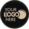 Leatherette Coaster Round - Black