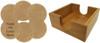 Leatherette Coaster Set of Six Round w/Holder - Light