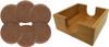 Set of Six Custom Laser Engraved Leatherette Coasters - Round & Dark