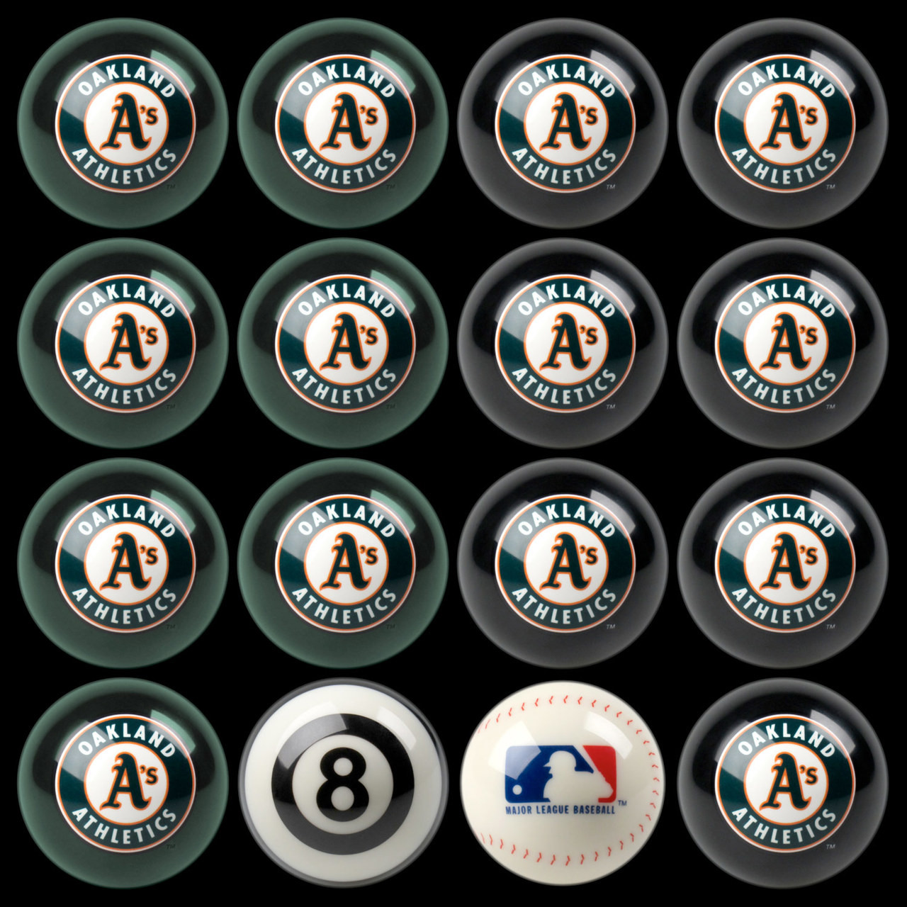 Oakland Athletics Pool Balls