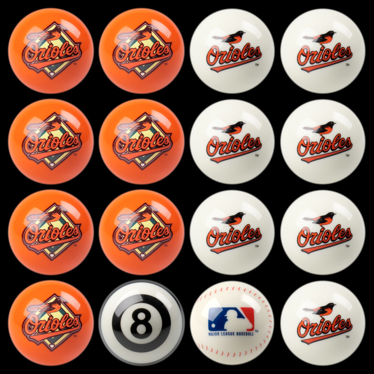 Baltimore Orioles Pool Balls