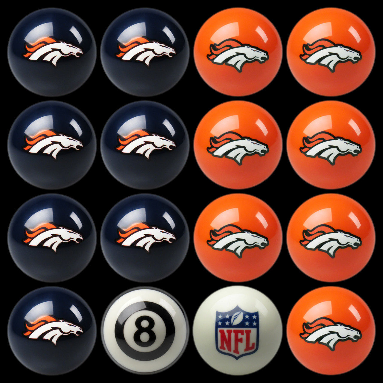 Denver Broncos Pool Balls