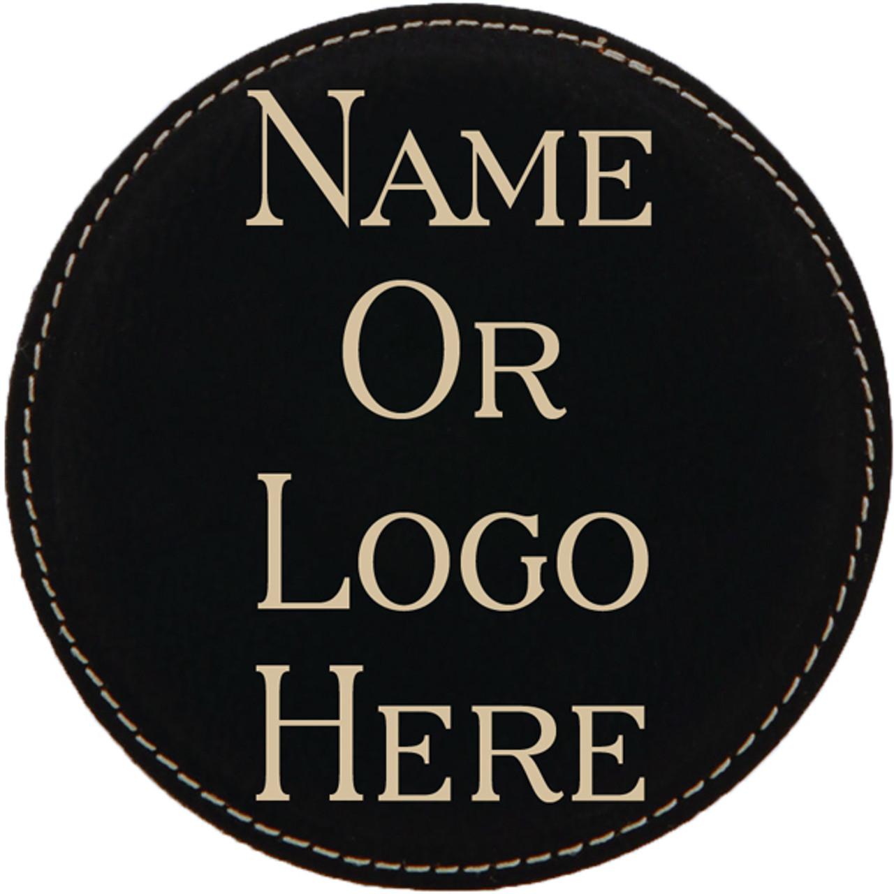 Leatherette Coaster Set of Six Round w/Holder - Black