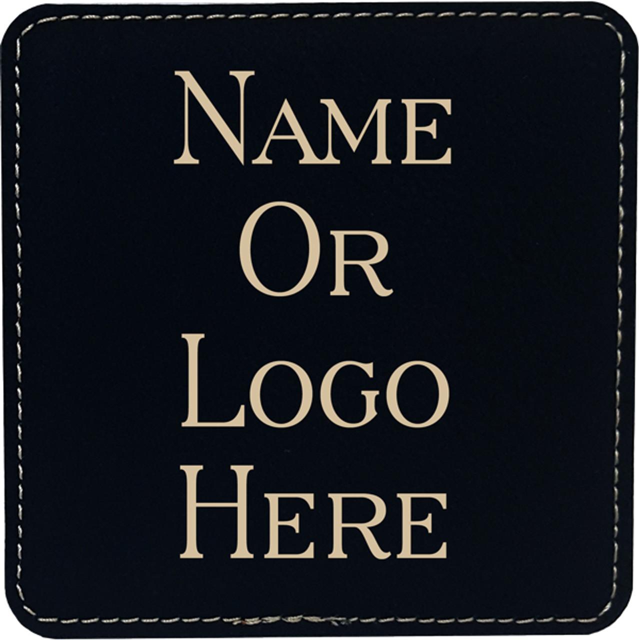Leatherette Coaster Set of Six Square w/Holder - Black