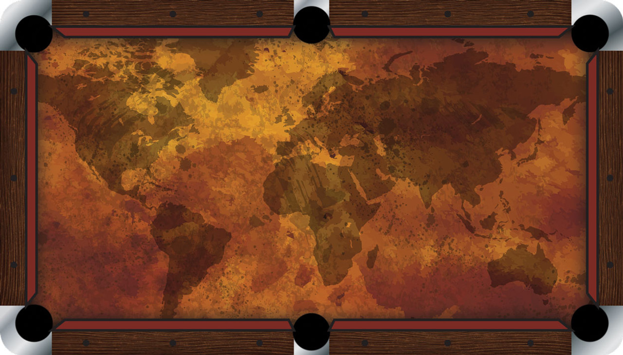 Vivid Grunge Map 7'/8' Pool Table Felt
