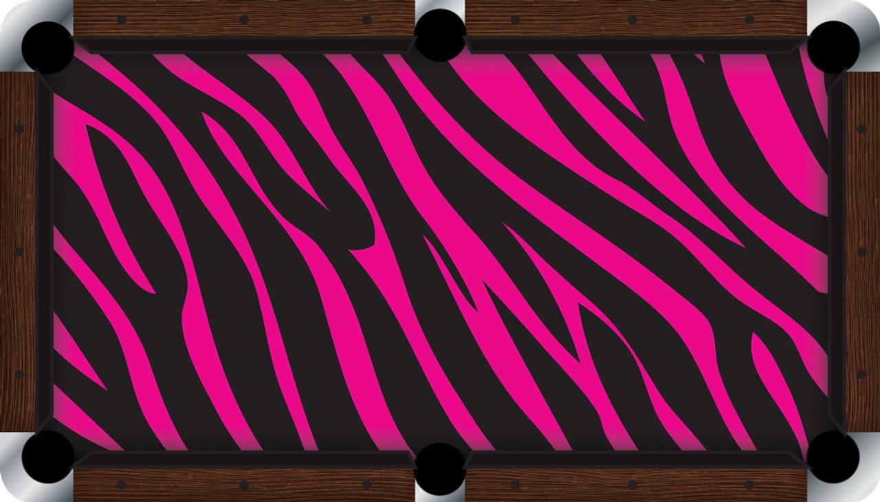 Vivid Pink Zebra 9' Pool Table Felt