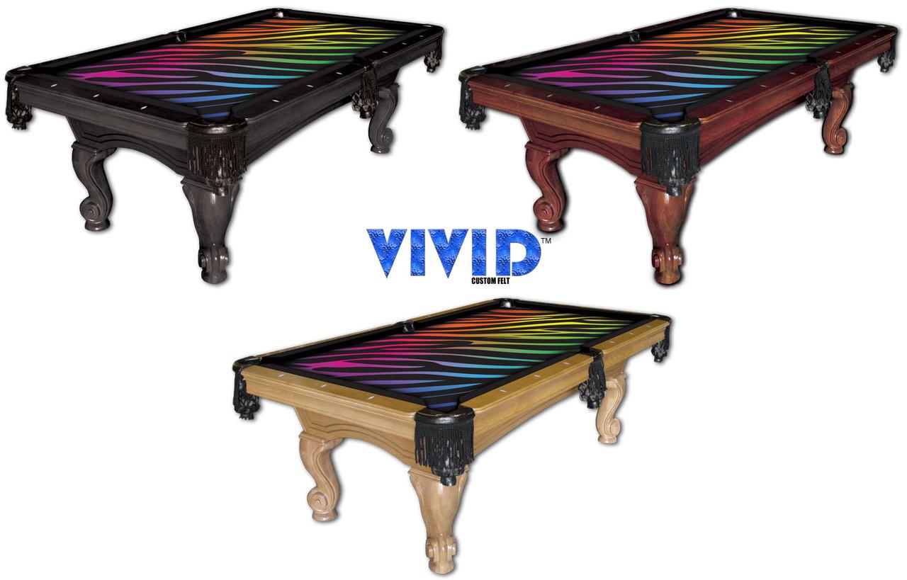 Vivid Rainbow Zebra 9' Pool Table Felt