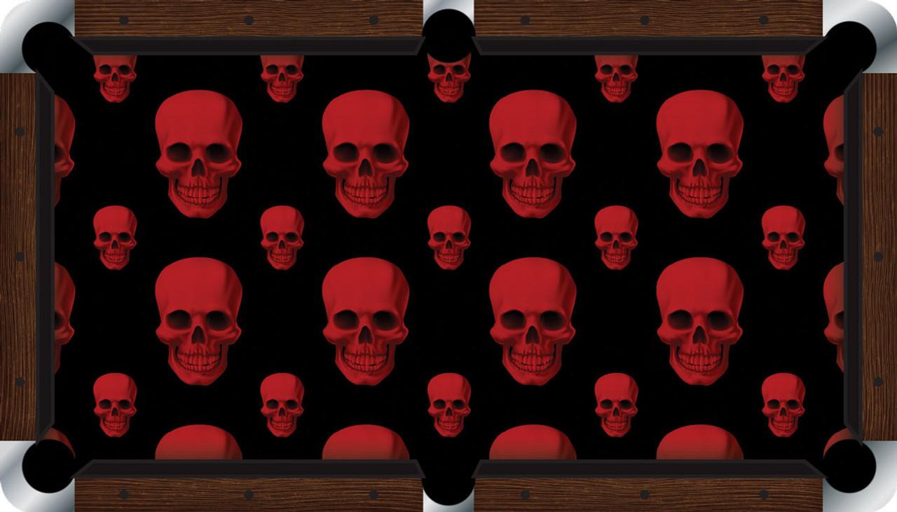 Vivid Red Skulls 9' Pool Table Felt