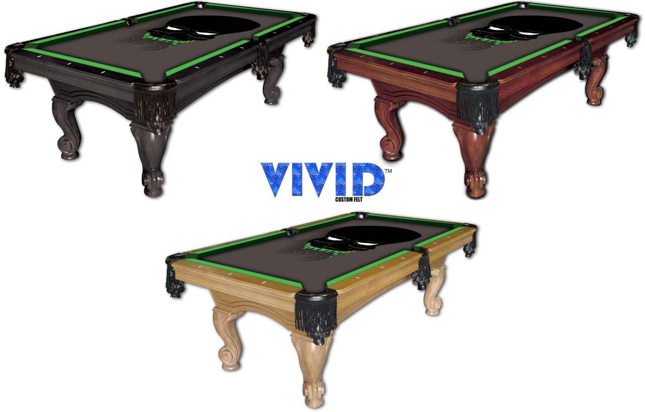 VIVID Alien Skull 7'/8' Pool Table Felt