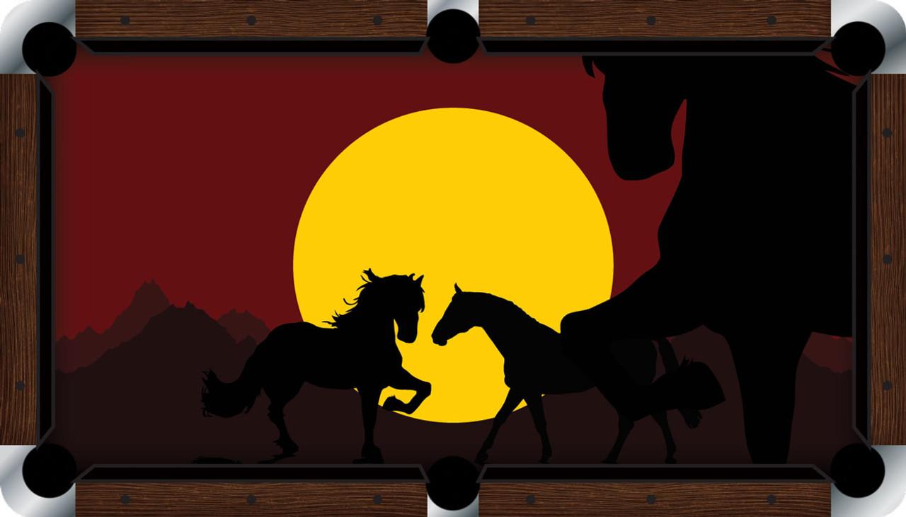 VIVID Horses at Sunset 9' Pool Table Felt