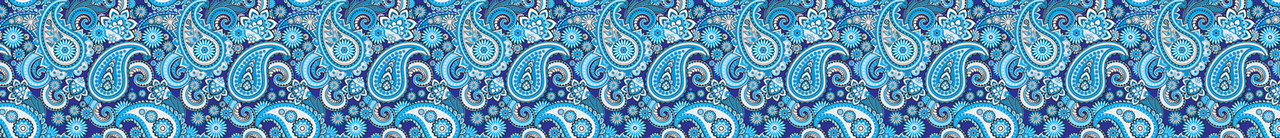Vivid Printed Pool Table Felt Rails - Blue Paisley
