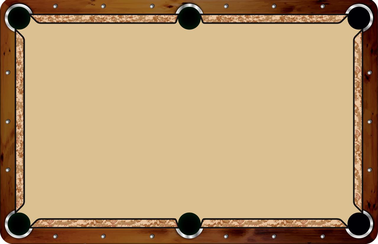 Vivid Printed Pool Table Felt Rails - Desert Camo