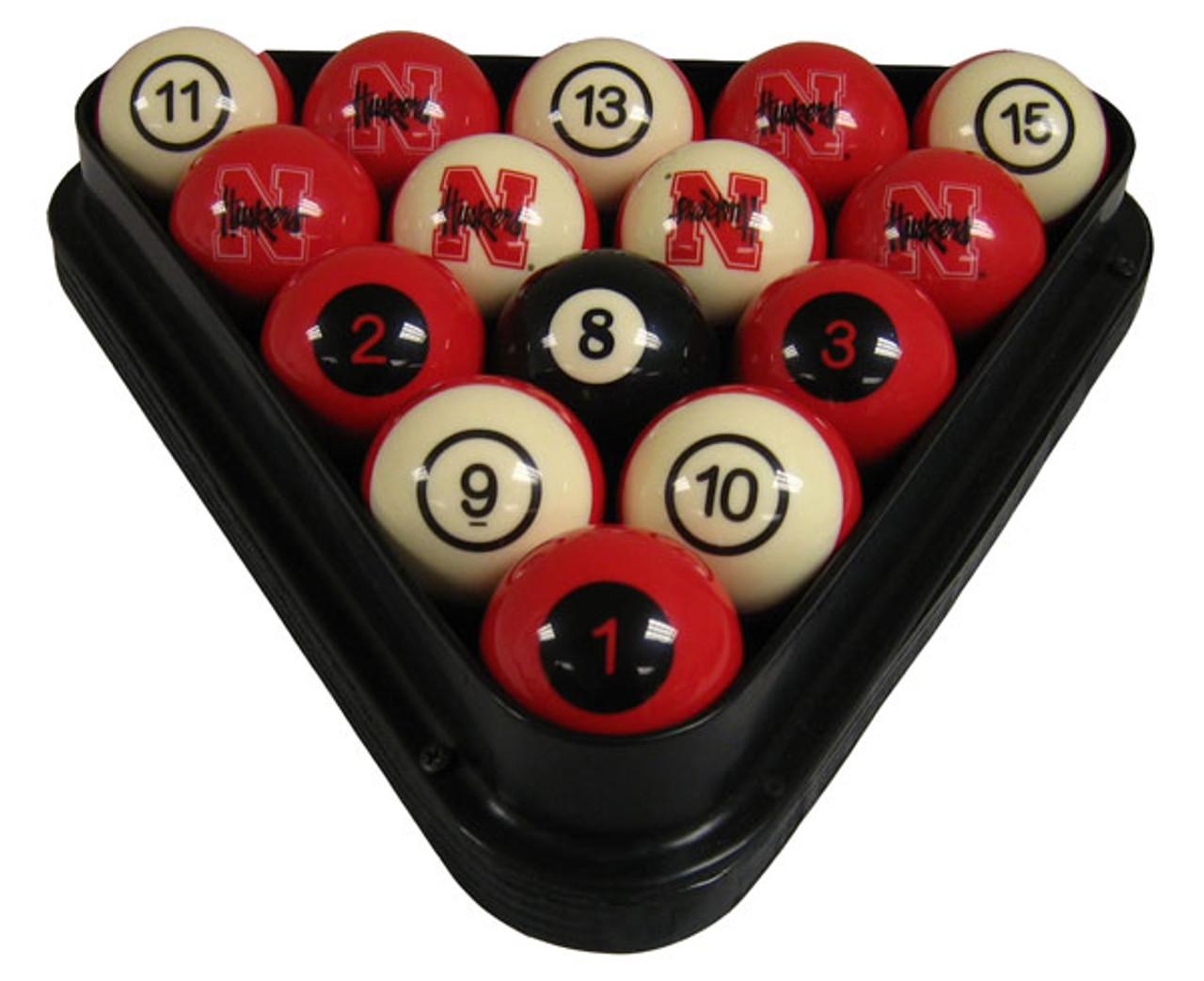 Nebraska Cornhuskers Numbered Billiard Ball Set