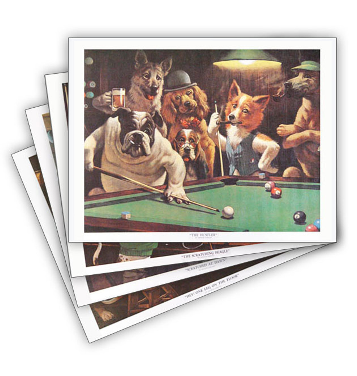"""""""Dogs Playing Pool"""" Prints (Set of Four)"""
