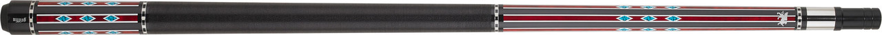 Griffin - Black w/ Burgundy Lines & Turquoise Diamonds Pool Cue