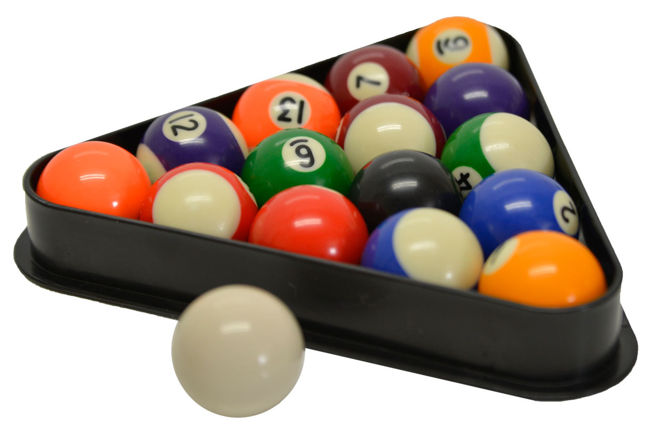 """Miniature Pool and Billiard Balls Set by Sterling - 1-1/2"""" - with Triangle Rack"""