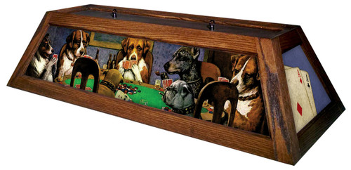 Poker Dogs Table Light Brown Frame