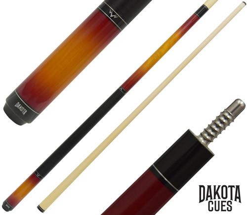 Dakota Pool Cue - Classic Sunburst Finish with Black Leather Stack Wrap