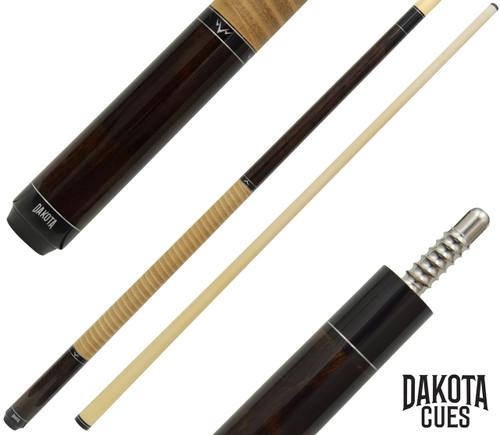 Dakota Pool Cue - Walnut Finish with Tan Leather Stack Wrap