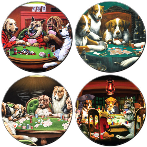 Dogs Playing Poker Coaster Set