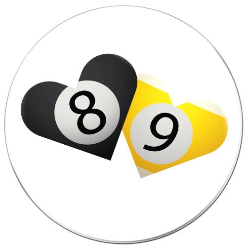 8 & 9-Ball Hearts Coaster