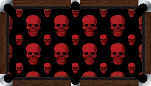 Vivid Red Skulls 7'/8' Pool Table Felt