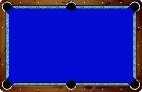 Vivid Printed Pool Table Felt Rails - Blue Paisley