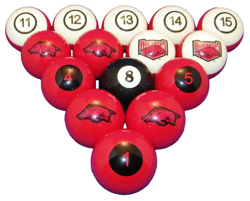 Arkansas Razorbacks Numbered Billiard Ball Set