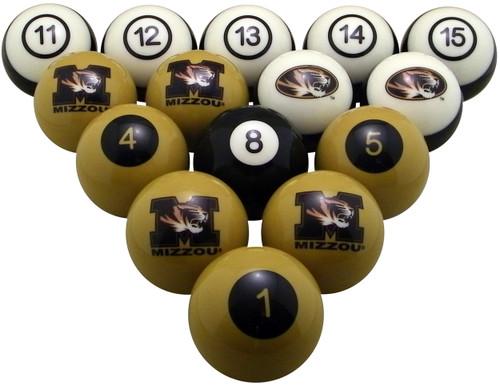 Missouri Tigers Numbered Billiard Ball Set
